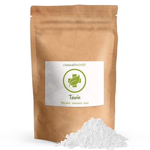 Taurin Pulver - 100 g - nicht essenzielle Aminosäure - in geprüfter Qualität - produktionsfrische Ware - 100% vegan und rein - fein gemahlen - glutenfrei - OHNE Hilfs- u. Zusatzstoffe