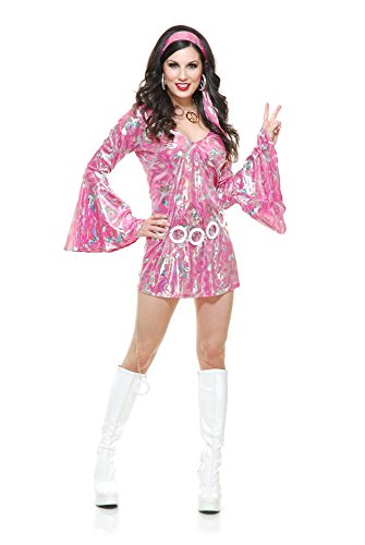 Charades Women's Disco Queen Costume Dress, Pink, X-Large