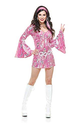 Charades Damen Disco Queen Costume Dress Kostüme für Erwachsene, Rose, X-Large