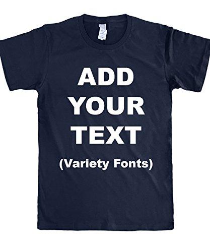 Custom T Shirts Ultra Soft Add Your Text for Men & Women Unisex Cotton T Shirt [Navy / 2XL]