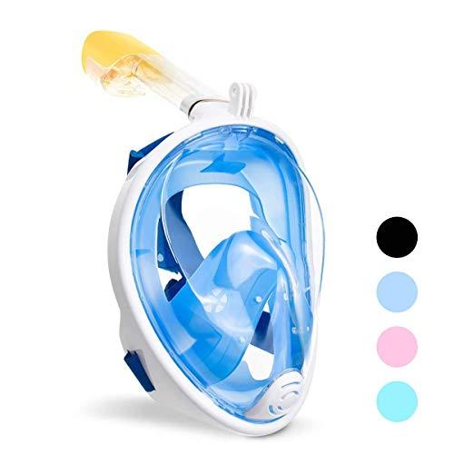 TucKer Tauchmaske mit 180° Sichtfeld, Schnorchelmaske Vollmaske, Tauchermaske Vollgesichtsmaske Anti-Fog/Anti-Leak (L/XL, Blau)