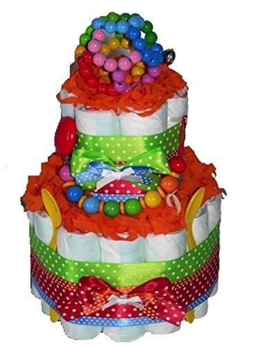 Tarta de pañales mágica con diseño de arcoíris con lunares para niños, niñas o neutrales, regalo de baby shower, bautizos o nacimientos