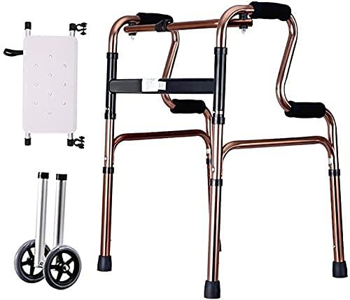 GANE Andador con Ruedas,Ayuda de Movilidad para Caminar para Adultos Mayores,Soporte Vertical para Personas Mayores,con Asiento y Ruedas,Ajustable,Plegable,liviano