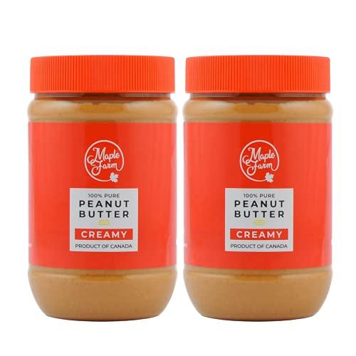 MapleFarm - 100% Puro Burro d'arachidi cremoso (CREAMY) - 1 Kg (2 x 500g) - Burro arachidi proteico - Crema proteica - Burro di arachidi naturale - Crema di arachidi - Peanut butter creamy