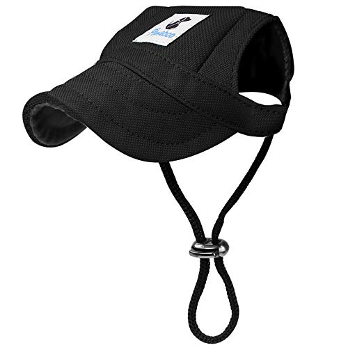 Pawaboo Dog Baseball Cap, Adjustable Dog Outdoor Sport Sun Protection Baseball Hat Cap Visor Sunbonnet Outfit with Ear Holes for Puppy Small Dogs, Large, Black