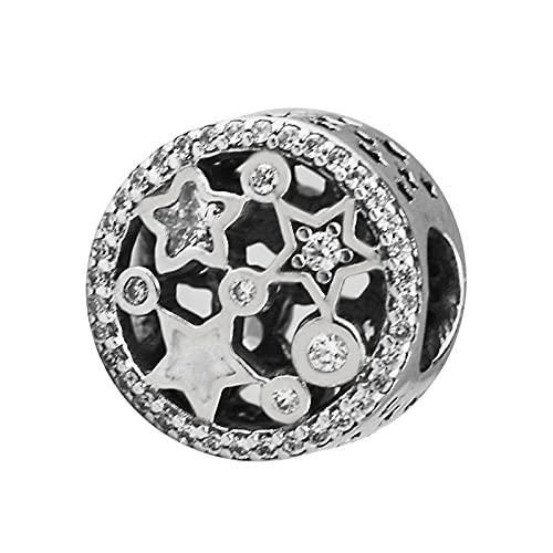 LIIHVYI Pandora Charms para Mujeres Cuentas Plata De Ley 925 Joyas De Estrellas Iluminadoras De Moda Perle Compatible con Pulseras Europeos Collars