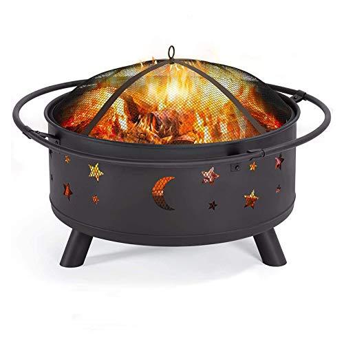 SYue Caldero para Fuego al Aire Libre, Cuenco de leña Redondo de Acero con Parrilla para cocinar, Cubierta de Malla de Seguridad, Cubierta de Almacenamiento para Chimenea