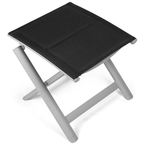 Vanage gepolsterter Hocker in schwarz - klappbarer Fußhocker - Alu Klapphocker - Sitzhocker - Klappstuhl für Camping, Garten, Terrasse und Balkon geeignet