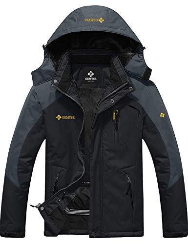 GEMYSE Chaqueta de esquí Impermeable de montaña para Hombre Abrigo de Invierno al Aire Libre de Lana a Prueba de Viento con Capucha (Gris Negro,L)