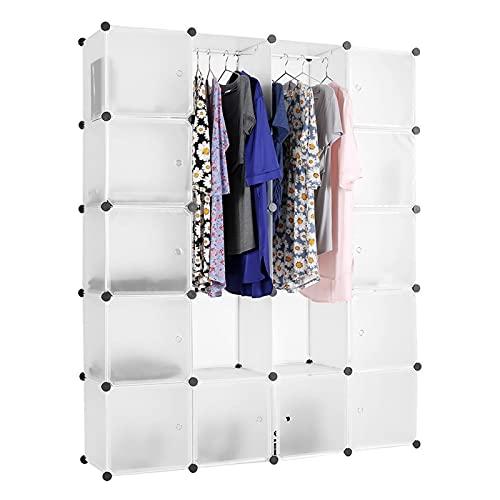 Armario Portátil BRICOLAJE Armario 12 Cubos y 2 secciones de almacenamiento Organizador de almacenamiento Casillero Combinar Zapatos Ropa Organizador Dormitorio Mobiliario Ropero ( Color : White )