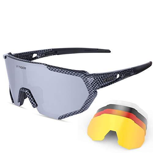 X-TIGER Gafas Ciclismo CE Certificación Polarizadas con 5 Lentes Intercambiables UV 400 Gafas,Corriendo,Moto MTB Bicicleta Montaña,Camping y Actividades al aire libre para Hombres y Mujeres TR-90 🔥