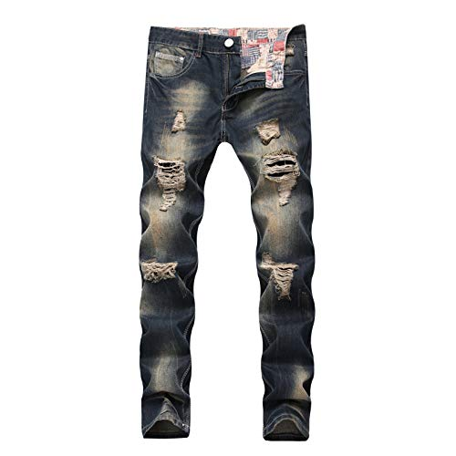 Men's Jeans Straight Casual Distressed Ripped Holes European and American Style Streetwear Trend Slim Denim Trousers 30