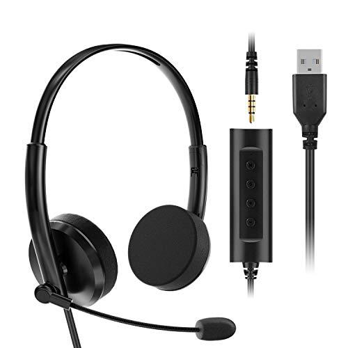 VddSmm Auriculares USB para PC con Funciones de Control de Audio y Micrófono, Auriculares Estéreo para Llamadas de Red, Llamadas de Computadora Remota en Oficinas Comerciales