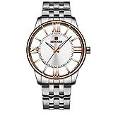 Reloj Deportivo de Cuarzo para Hombre, Reloj de Perspectiva Hueco de Acero Inoxidable, Reloj Impermeable multifunción 42mm Oro