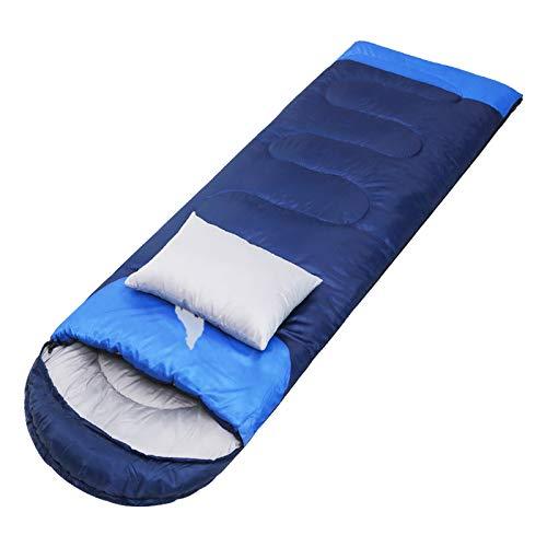 thematys Bequemer Schlafsack mit Baumwolle Innenfutter - Mumienschlafsack perfekt für Camping, Festivals & Angeln - 2 (Dunkelblau, Gewicht 1,85kg)