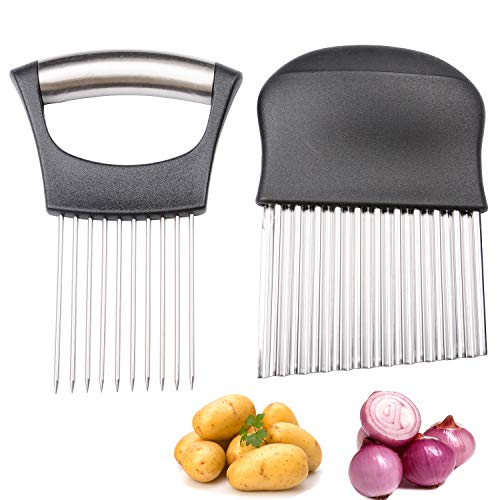 MUZOCT Onion Holder with Vegetable Crinkle Cutter Slicer Choppe Stainless Steel Cutting Kitchen Gadget