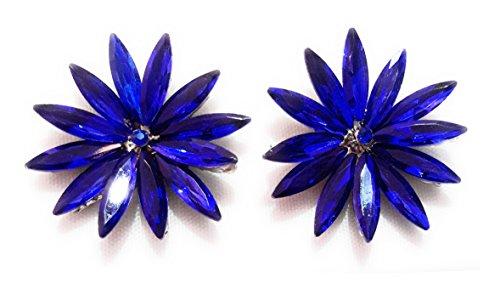 Pendientes Cristales Colores Mujer Fiesta Boda Pendientes Elegantes con Forma de Flor y Dorso Chapado Plata, Azul Zafiro
