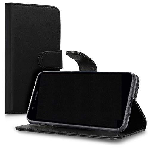 kompatibel für Asus Zenfone 3 Max zc553kl (5.5) Schutz Schützende Cover Stand Kippen Buch Gel TPU Weich Öko-Leder Brieftasche (schwarz)