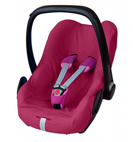 ByBoom® - universele zomerhoes, beschermhoes van 100% katoen, voor babyschaal, autostoel, bijv. Maxi Cosi CabrioFix, City, Pebble; ontworpen in Duitsland, MADE IN EU, kleur: fuchsia