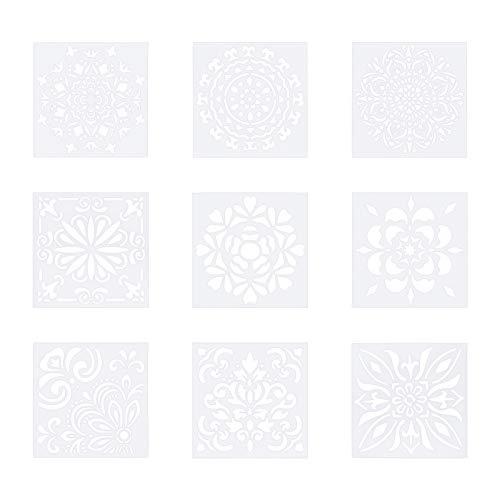 WANDIC Plantillas de mandala, 9 piezas, de plástico, reutilizables, para pintura de suelo, corte láser, plantilla para madera, azulejos, tela, muebles, decoración, 15 x 15 cm
