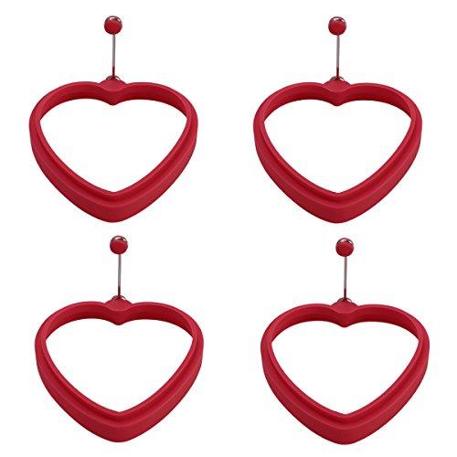 OUNONA Spiegeleiform für Bratpfanne Ei Ringe Silikon Pfannkuchenform Rund Grün Omelett Form Für Eier Kochen (Herz)