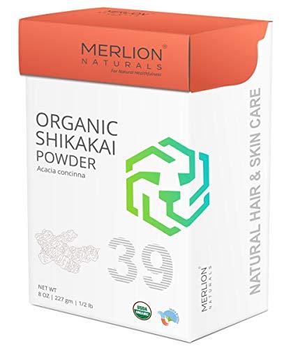 MERLION NATURALS Organic Shikakai Powder | Acacia concinna | 227gm/ 8OZ/ 1/2lb | USDA NOP Certified 100% Organic