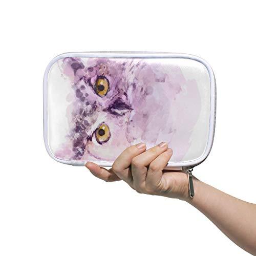 Montoj - Estuche organizador de brochas de maquillaje con diseño de búho, bolsa de cuero