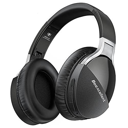 Cuffie Bluetooth, Upgraded Version Cuffie Wireless Over Ear con Microfono Cuffie Audio Hi-Fi 40 Ore Padiglione Comode Morbido per Corso Online TV PC