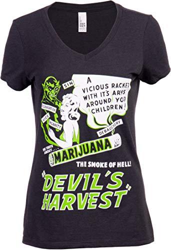 Devil's Harvest (1942 Poster) | Funny Absurd Vintage Drug War Marijuana Weed Pot Propaganda Women's V-Neck T-Shirt -(Vneck,XL) Black Heather