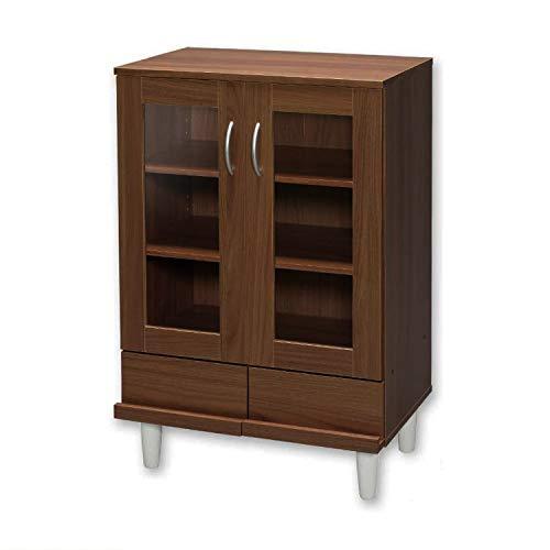 Iris Ohyama Kitchen Cabinet KPB-9360 Comò/Buffet 2 Cassetti e 3 Ripiani con Ante in Vetro in Legno MDF, Engineered Wood, Marrone (Rovere Marrone)