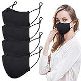 viciviya Baumwolle Masken,Mundschutz Maske Wiederverwendbar, Hochwertiges Gesichtsmaske Waschbar mit 3-lagig Baumwolle Filter, Staubschutzmaske für Damen, Herren, 4 Stück