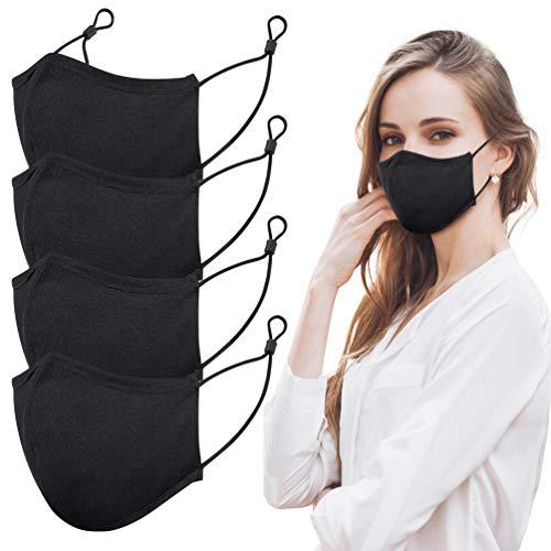 Mundschutz Maske Wiederverwendbar, Hochwertiges Gesichtsmaske Waschbar mit 3-lagig Baumwolle Filter, Multifunktional Trainingsmaske für Radfahren, Laufen, Staubschutzmaske für Damen, Herren, 4 Stück