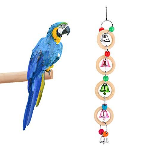 FayTun Juguetes de jaula de loro de pájaros, colorido loro masticando campanas de timbre, juguete colgante masticable con 4 campanas para loros, cacatúas, conures, guacamayos, etc