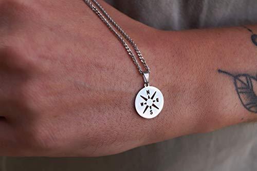 Made by Nami Herren Halskette mit Anhänger - 60 cm Herren Silber-Kette aus Edel-Stahl - Coole Kompass-Kette - Handmade Glieder-Kette - Männer-Kette - Geschenk Geburtstag für Ihn (Silber Kompass)