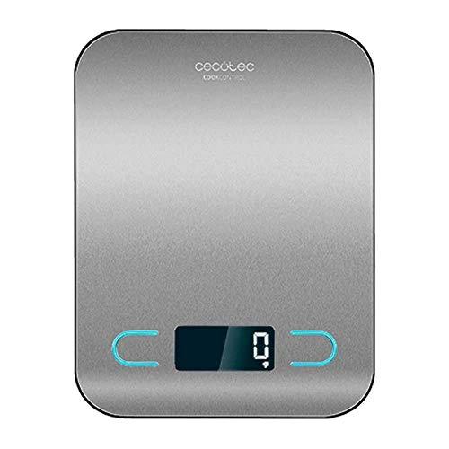 Cecotec Báscula de Cocina Digital Cook Control 8000. Alta precisión, Acero Inoxidable, Diseño Extraplano, Pantalla LCD Retroiluminada, Capacidad Máxima 5 Kg con Precisión de 1 g