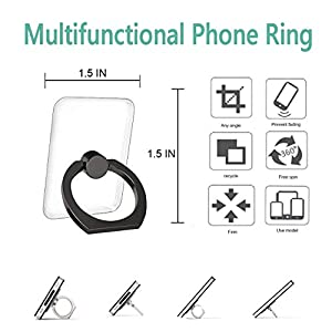 Cell Phone Ring Holder Stand 4 Pack Transparent Phone Ring Holder Universal 360° Degree Rotation Finger Ring Kickstand…