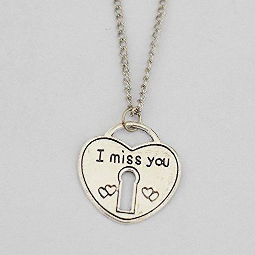 I Miss You con texto grabado a mano collar I Miss You colgante