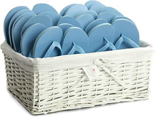 Zohula Flip Flops Wedding Baskets - 20 Pairs - Choice of Colours & Sizes ([Sx4][Mx10][Lx6], Sky Blue)
