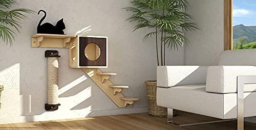 Generisch Katzen Kletterwand 4-teiligSet zum Befestigen an der Wand Katzenmöbel kratzbaum