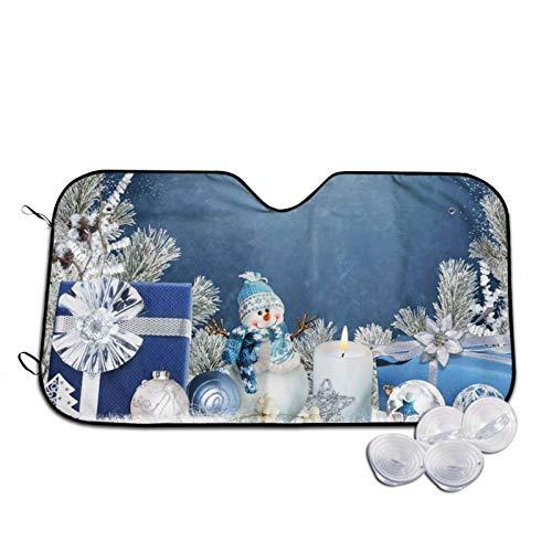 Regalos decorativos de Navidad, diseño de muñeco de nieve impreso para parabrisas de coche, parasol para ventana frontal, parasol para rayos UV, protector de visera pequeña
