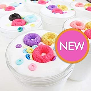 Fruity Rings Cereal - Thick and Glossy Scented Slime - Cereal Milk Slime with Charms - 4oz - Made in USA by Artistic Slimez