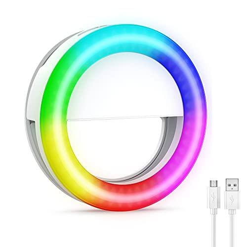 【Farbig】Criacr Selfie Licht, Selfie Ringleuchte, Ringlicht Handy mit 18 RGB Farbe & 13 Helligkeitsstufen, USB Wiederaufladbar Ringlicht Ringleuchte für Live-Stream, TikTok, Zoom, Makeup & Fotos