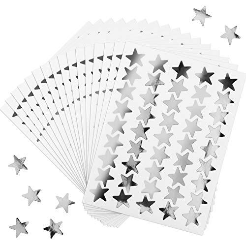 100 Hojas 4500 Cuentas Pegatinas de Estrella de Papel de Aluminio Etiquetas Pegatinas de Estrella de Recompensa para Casa, Escuela, Bar, Decoración de Oficina y DIY (Plata)