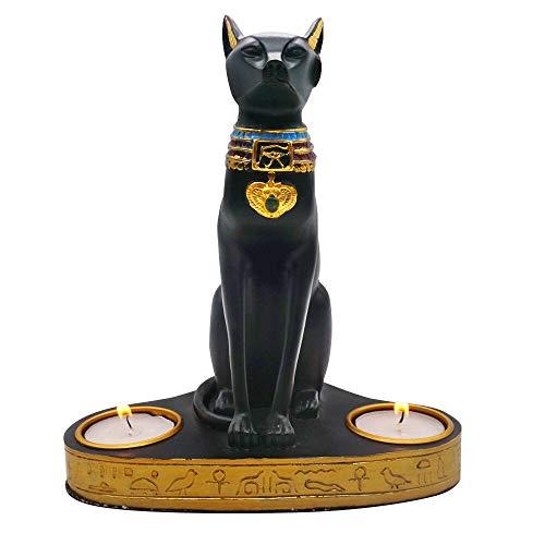 Moylor Tee Licht Kerzenhalter–Alten Ägypten Kitty Ägyptische Bastet Katze Göttin Statue Votivkerze Halter (19,1cm hoch)