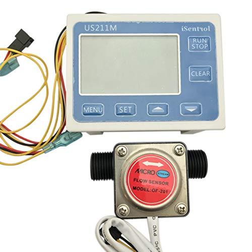 DomilayUS211M Durchflussmesser Summen ZäHler Durchflussmessung mit OF201 BSP 1/2 Zoll Benzin Getriebe Wasserdurchfluss Sensor 1-10L / Min HeizöL Schmiermittel