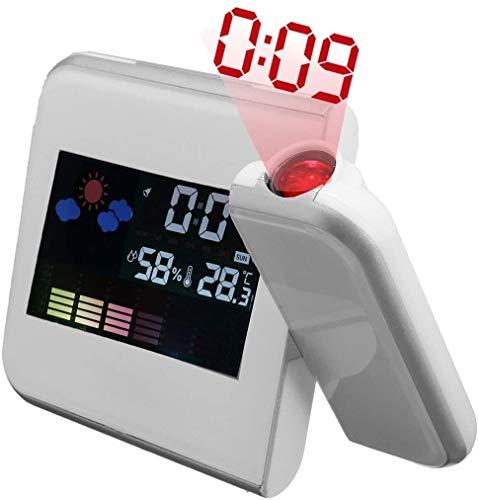 Projektionswecker, LED Digital Wecker mit Snooze- Funktion, USB Aufladbar, Innentemperatur, Luftfeuchtigkeit, Kalender, Tagesanzeige, Wetteranzeige, Backlight (weiß)