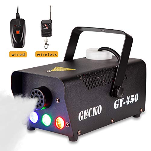 Fog Machine GECKO Smoke Machine Hood Portable LED Light With Wired and Wireless Remote Control, Fast Heating, Suitable for Parties, Christmas, Halloween and Wedding