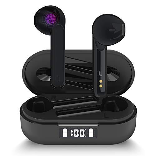 Cuffie Bluetooth Aoslen Auricolari Bluetooth 5.1 Wireless Cuffie Senza Fili Riproduzione di 40 Ore Con Microfoni Integrati Accoppiamento Automatico Tocco Intelligente per Huawei Xiaomi iPhone Nero