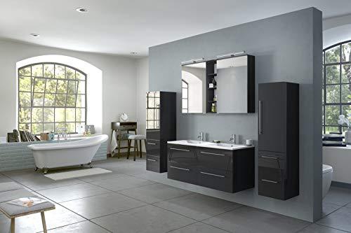 SAM - Juego de Muebles de baño de 4 Piezas, Color Negro Brillante, Mueble de baño de Cierre Suave, Doble Lavado, 120 cm de Lavabo de Mineral Fundido, Armario con Espejo, Dos armarios Altos