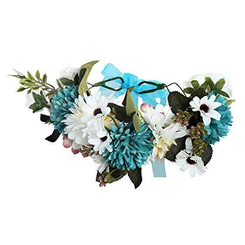 AWAYTR Boho Blumenkrone Stirnband Festival Kopfschmuck - Handgefertigt Blume Haarkranz mit Band Beere Blumenstirnband für Frauen und Mädchen Kleid (Blau + Weiß)